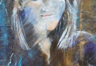 huile et collage sur toile 80x80