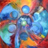 Mixte, encre et huile sur toile 80×80 cm