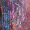 Mixte, encre et huile sur toile 50×60 cm