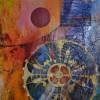huile et collages sur toile 90x90